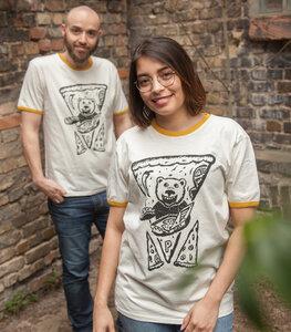 Peppo Pizza Bär - päfjes Ringer Unisex T-Shirt - Fair gehandelt aus Baumwolle Slub - Bio - päfjes