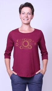 Bio-Damen-3/4 Arm Shirt- Sonnensystem - Peaces.bio - handbedruckte Biokleidung