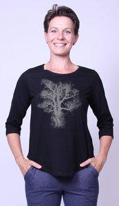 Bio-Damen-3/4 Arm Shirt- Chestnut - Peaces.bio - handbedruckte Biokleidung