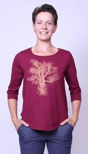 Bio-Damen-3/4 Arm Shirt Chestnut - Peaces.bio - handbedruckte Biokleidung