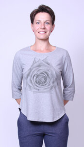 Bio-Damen-3/4 Arm Shirt Rose - Peaces.bio - handbedruckte Biokleidung