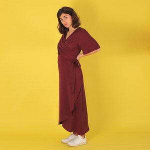 """Langes Tencel Wickelkleid """"Luma"""" in violett oder grau-olive - ManduTrap"""