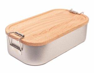 Lunchbox mit Deckel aus heimischem Buchen Holz im eleganten Umkarton - Cameleon Pack