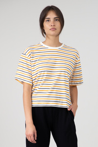 "Cropped T-Shirt ""Vayana"" stripes - orange schwarz weiss - [eyd] humanitarian clothing"