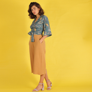"Culotte, kurze Hose, Hosenrock ""Dariana"" aus gewaffelter Baumwolle in sand/nude - ManduTrap"