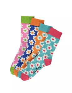 4er Pack Socken mit Retro-Blumenmuster - Deerberg