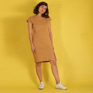"""Kleid """"Ellas"""" aus gewaffelter Baumwolle in sand/nude - ManduTrap"""