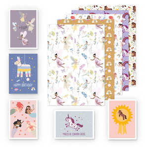 Kinder Geschenkpapier 5er Set: Pferd, Einhorn, Meerjungfrau, Fee, Lama - dabelino