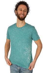 """Shirt aus Biobaumwolle Fairwear """"Olive Branch"""" Men Teal Monstera Blue - Life-Tree"""