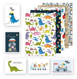 Kinder Geschenkpapier 5er Set: Auto, Weltall, Dinosaurier, Feuerwehr - dabelino