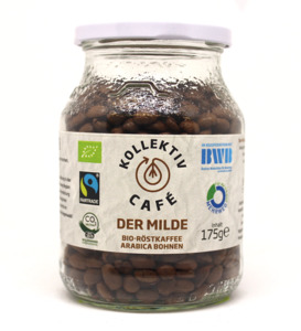 KollektivCafé Milde Bohne - 175g Bohnen Bio-Röstkaffee im Mehrwegglas - KollektivCafé