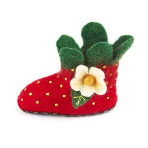 Hausschuhe Erdbeere handgefilzt für Kinder - short'n'pietz