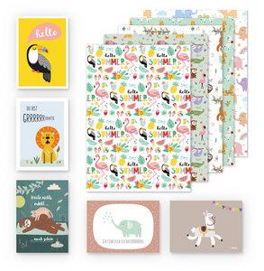 Kinder Geschenkpapier 5er Set Tiere: Faultier, Elefanten, Lama, Flamingo - dabelino