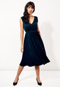 Kurzes Kleid, Midikleid ausgestellt Viskose grün oder blau - SinWeaver alternative fashion