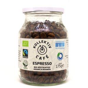 KollektivCafé Espresso Bohne - 175g Bio-Röstkaffee im Mehrwegglas - KollektivCafé