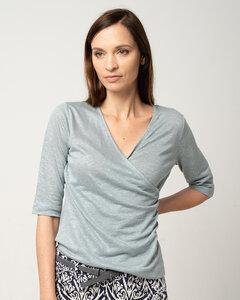 Shirt in Wickeloptik aus Leinen-Jersey 'Linen Drape' - Alma & Lovis