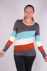 Fairtrade Damen Langarmshirt aus Bio-Baumwolle Thick Lines - NEPALAYA