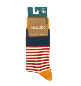 gestreifte Socken, gelb-blau-rot - Bulus organic Textilien GmbH