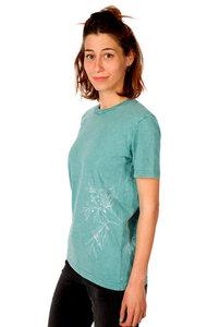 """Shirt aus Biobaumwolle Fairwear """"Olive Branch"""" Women Teal Monstera Blue - Life-Tree"""