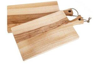 Schneidebrett mit Griff aus Kern-Esche-Holz mit Kordel – Größe: 40 x 20 x 2 cm - ReineNatur