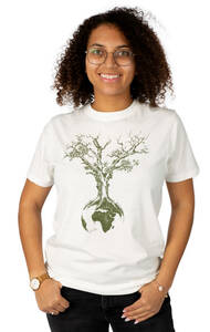"""Shirt aus Biobaumwolle für Damen """"Weltenbaum"""" Stone Washed White - Life-Tree"""