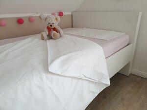 Kinderbettwäsche-Set Glattsatin, weiß, 1 Kissen- und Bettbezug 100x135 cm - Dibella goodtextiles