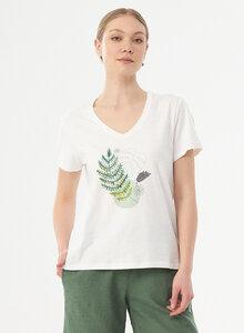 Damen T-Shirt aus Bio-Baumwolle mit Blatt-Print - ORGANICATION