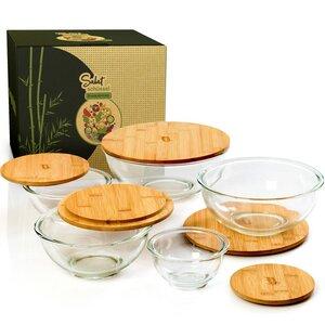 Salatschüssel aus Glas mit Deckel aus Bambus in 5 Größen - Bambuswald
