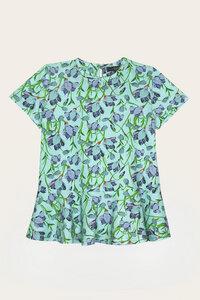 Bio Shirt Mädchen mit kurzem Arm, Blumenprint - Corinna - Lana naturalwear