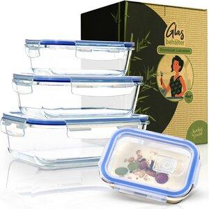 auslaufsichere Vorratdosen Glas mit luftdichten Deckel 4er Set - eckig - Bambuswald