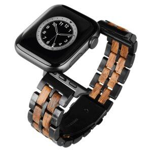 LAiMER Smartwatch Uhrband Zebranoholz Fancy - kompatibel mit Apple Watch - Laimer