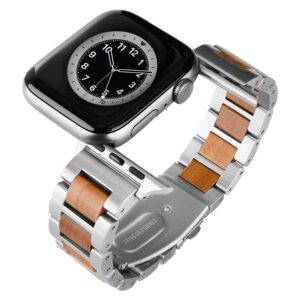 LAiMER Smartwatch Uhrband Apfelholz Silber - kompatibel mit Apple Watch - Laimer