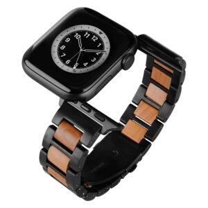 LAiMER Smartwatch Uhrband Apfelholz Schwarz - kompatibel mit Apple Watch - Laimer