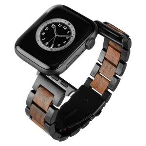 LAiMER Smartwatch Uhrband Nussholz Basic - kompatibel mit Apple Watch - Laimer