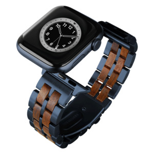LAiMER Smartwatch Uhrband Leadholz Fancy Blau - kompatibel mit Apple Watch - Laimer
