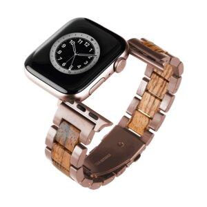 LAiMER Smartwatch Uhrband Zebranoholz Basic Rosé - kompatibel mit Apple Watch - Laimer
