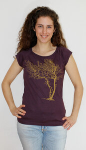 Bambus-T-Shirt mit Biobaumwolle Fancy Tree - Peaces.bio - EarthPositive® - handbedruckt