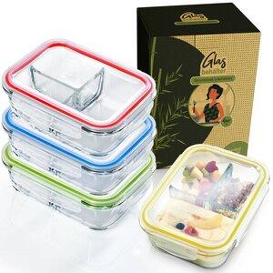 4er Set Lebensmittelbehälter | Lunchbox mit 3 Fächern & 1040ml - Bambuswald