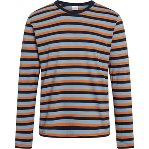 Herren Longsleeve LOCUST Triple Striped - GOTS/VEGAN, Total Eclipse - KnowledgeCotton Apparel
