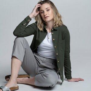 "Hemd Damen ""Camisa"" - Bio-Baumwolle olivgrün/rust - Vresh Clothing"