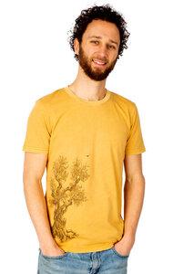 """Shirt aus Biobaumwolle Fairwear für Herren """"Olive Tree"""" in Ocre-Gelb - Life-Tree"""