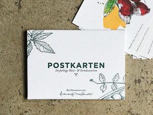 Postkartenset, 16 Obst und Gemüse Postkarten - Kupferstecher.Art