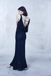 OPEN BACK DRESS JANNAH BLACK - Hati-Hati