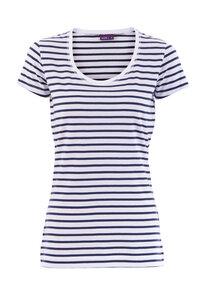 Rundhals-Shirt Streifen marineblau/weiß Biobaumwolle 63822 - Living Crafts