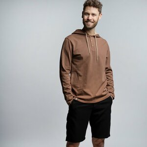 Hood Longsleeve Herren - Bio-Baumwolle schwarz/braun - Vresh Clothing