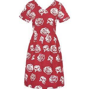 Bio Kleid - VERONA - Roses Red & Rays Black - Global Mamas