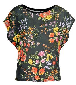T-Shirt mit Spitzeneinsatz - Blumenmuster - LASALINA