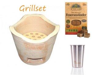 Grill-Set mit Tischgrill Edelstahlbecher und Anzünder - Matchpoint