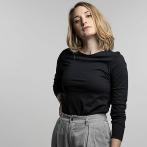 Longsleeve Damen - Bio-Baumwolle + rec. Polyester - schwarz/grau - Vresh Clothing