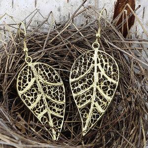 Ohrringe aus Messing 'Blatt' - Mitienda Shop